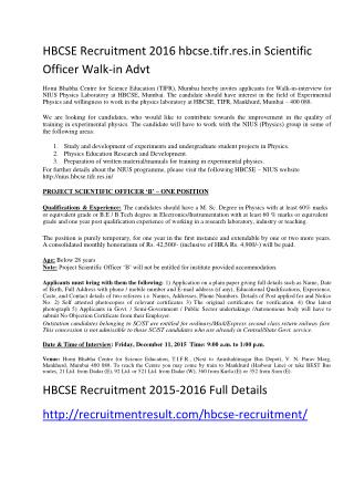 HBCSE Recruitment 2016 Hbcse.tifr.Res.in Scientific Officer Walk-In Advt
