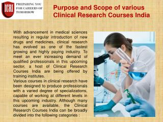 Clinical Research Courses India, Post Graduate Diploma in Clinical Research