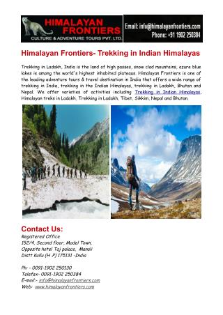 Trekking in Indian Himalayas & Trekking in Ladakh