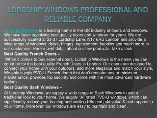 Lordship Windows Professional and Reliable Company