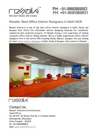Corporate Office Interior Designers in Delhi NCR