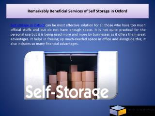 Remarkably Beneficial Services of Self Storage in Oxford