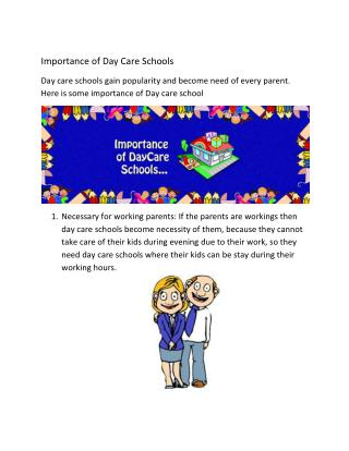 importance of day care schools