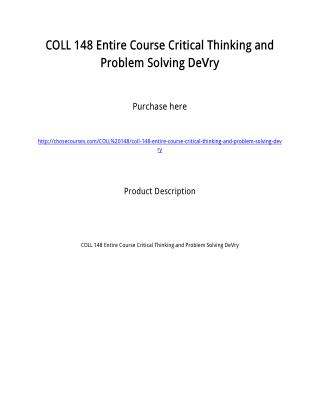COLL 148 Entire Course Critical Thinking and Problem Solving DeVry