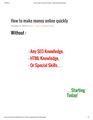 how to make money online quickly