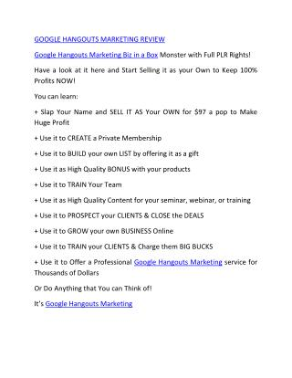Google Hangouts Marketing   Review