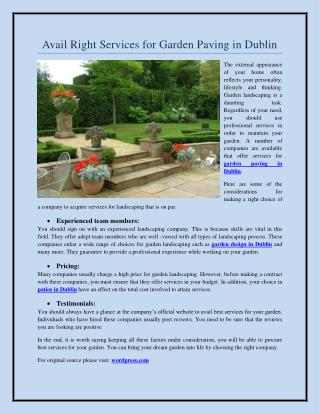 Avail Right Services for Garden Paving in Dublin