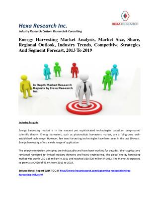 Energy Harvesting Market Analysis, Market Size, Share, Regional Outlook, Industry Trends, Competitive Strategies And Seg