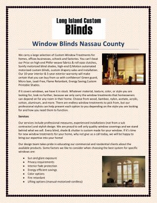 Window Blinds Nassau County