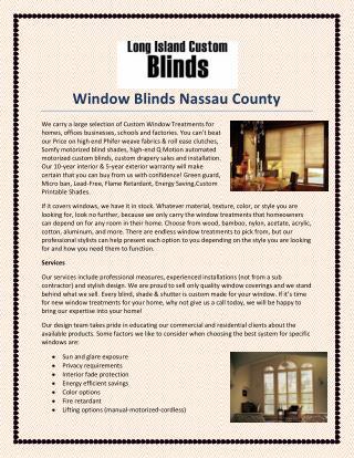 Window Blinds Nassau County