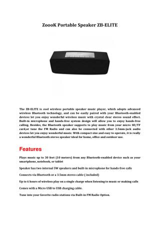 ZoooK Portable Speaker ZB-ELITE
