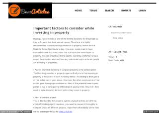 Important factors to consider while investing in property