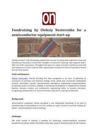 Fundraising by Oleksiy Nesterenko