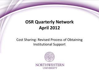 OSR Quarterly Network April 2012