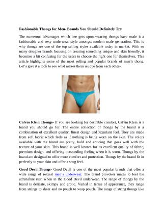 Fashionable Thongs for Men - Brands You Should Definitely Try