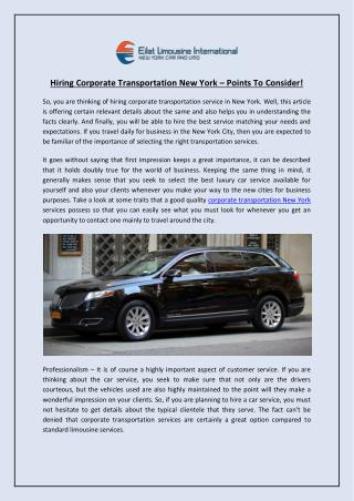 Hiring Corporate Transportation New York – Points To Consider!