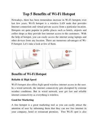 Top 5 Benefits of Wi-Fi Hotspot