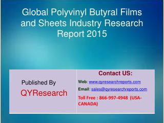 Global Polyvinyl Butyral Films and Sheets Market 2015 Industry Research, Analysis, Study, Insights, Outlook, Forecasts a