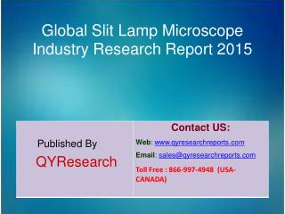 Global Slit Lamp Microscope Market 2015 Industry Development, Research, Forecasts, Growth, Insights, Outlook, Study and