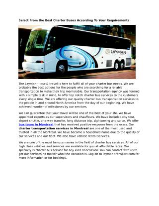 Bus Tours Montreal