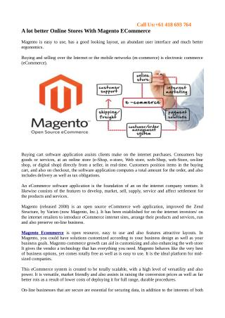 A lot better Online Stores With Magento ECommerce