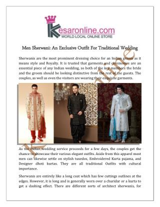 Buy Mens Sherwani Online in UK