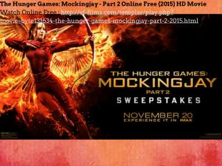The Hunger Games: Mockingjay - Part 2 Online Free (2015) HD Movie
