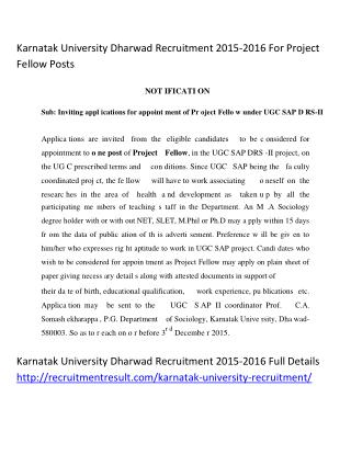 Karnatak University Dharwad Recruitment 2015-2016 for Project Fellow Posts