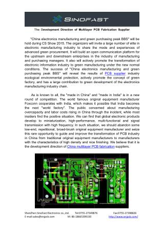 The Development Direction of China High Density PCB