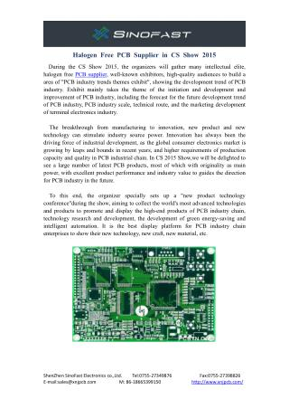 Halogen Free PCB Supplier in CS Show 2015