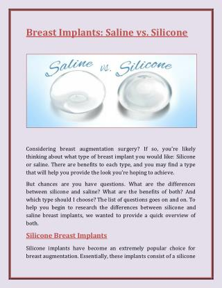 Breast Implants Saline vs. Silicone