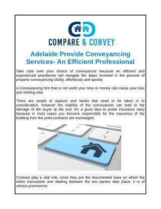 Adelaide Provide Conveyancing Services- An Efficient Professional