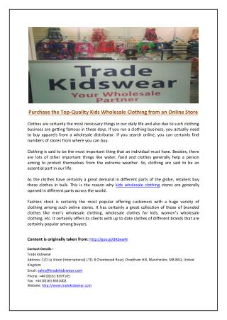 Purchase the Top-Quality Kids Wholesale Clothing from an Online Store