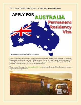 Tests That You Need To Qualify To Get Australian PR Visa