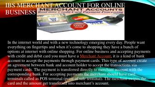 IBS Merchant Account for Online Business