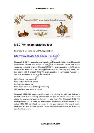 Microsoft MB2-704 exam practice test