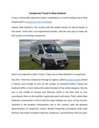 Campervan Travel in New Zealand