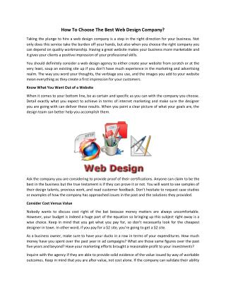 How To Choose The Best Web Design Company?