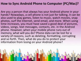 How to Sync Android Phone to Computer PC Mac