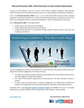 Microsoft Dynamics CRM: A New Dimension to Client-Vendor Relationships
