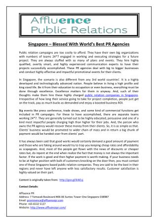 Singapore – Blessed With World's Best PR Agencies