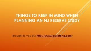 Things To Keep In Mind When Planning An NJ Reserve Study