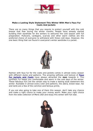 Make a Lasting Style Statement This Winter With Men's Faux Fur Coats And Jackets