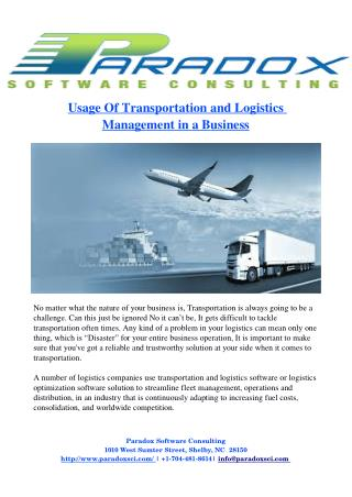 Applications of Transportation and Logistics Management in a Business