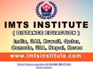 Online Distance education BA BBA MA BSC IT MBA MCA in Jammu