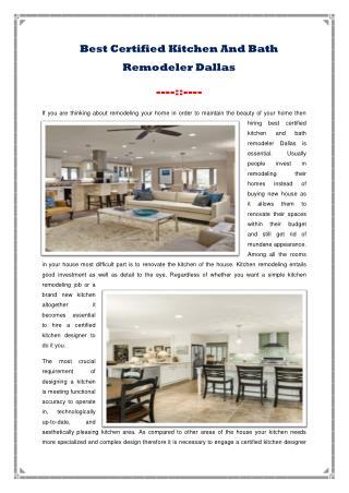 Best Certified Kitchen And Bath Remodeler Dallas