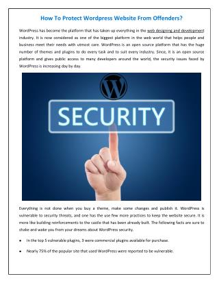 How to protect WordPress website from offenders?