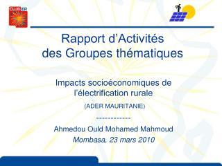 Rapport d Activit s des Groupes th matiques