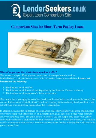 Comparison Sites for the Short Term Loans Market
