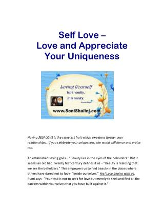 Self Love – Love and Appreciate Your Uniqueness